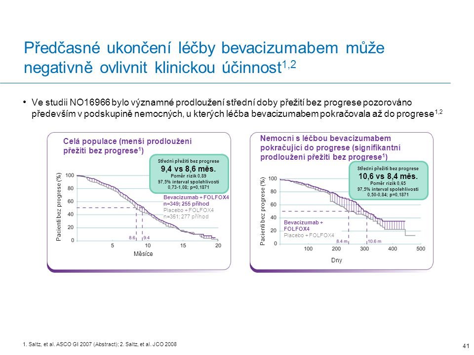Předčasné ukončení léčby bevacizumabem může negativně ovlivnit klinickou účinnost 1,2 Ve studii NO16966 bylo významné prodloužení střední doby přežití bez progrese pozorováno především v podskupině nemocných, u kterých léčba bevacizumabem pokračovala až do progrese 1,2 41 1.