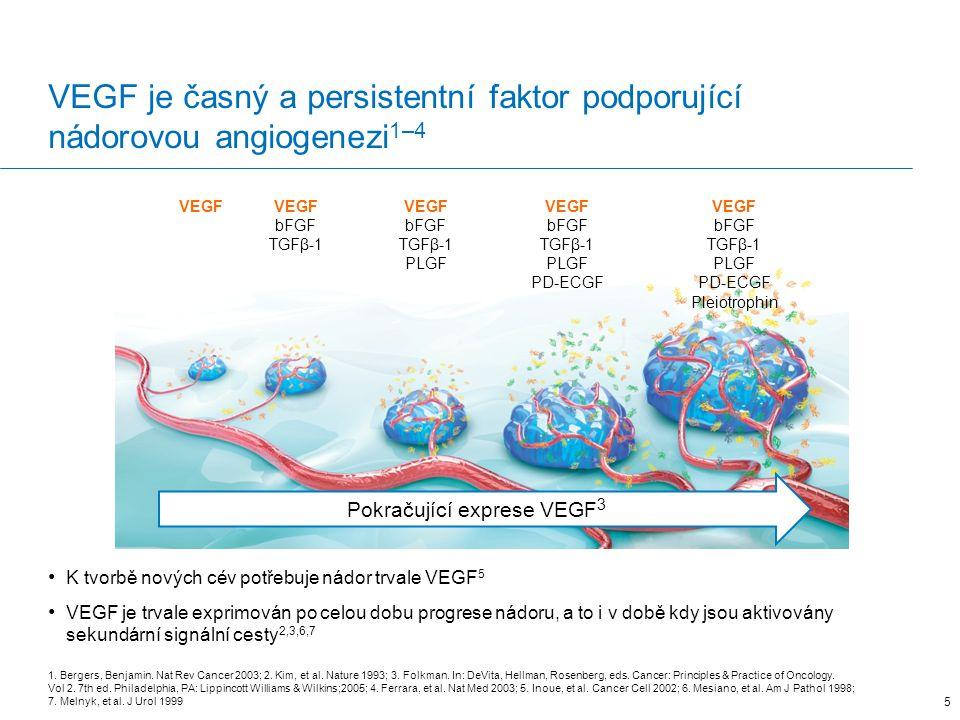 VEGF je exprimován trvale během celého růstu a vývoje nádoru 1–5 VEGF je trvalé exprimován během progrese nádoru a podporuje nádorovou angiogenezi i v době, kdy jsou aktivovány sekundární signální cesty 2,3,6,7 36 VEGF bFGF TGFβ-1 VEGF bFGF TGFβ-1 PLGF VEGF bFGF TGFβ-1 PLGF PD-ECGF VEGF bFGF TGFβ-1 PLGF PD-ECGF Pleiotrophin Trvalá exprese VEGF 3 1.