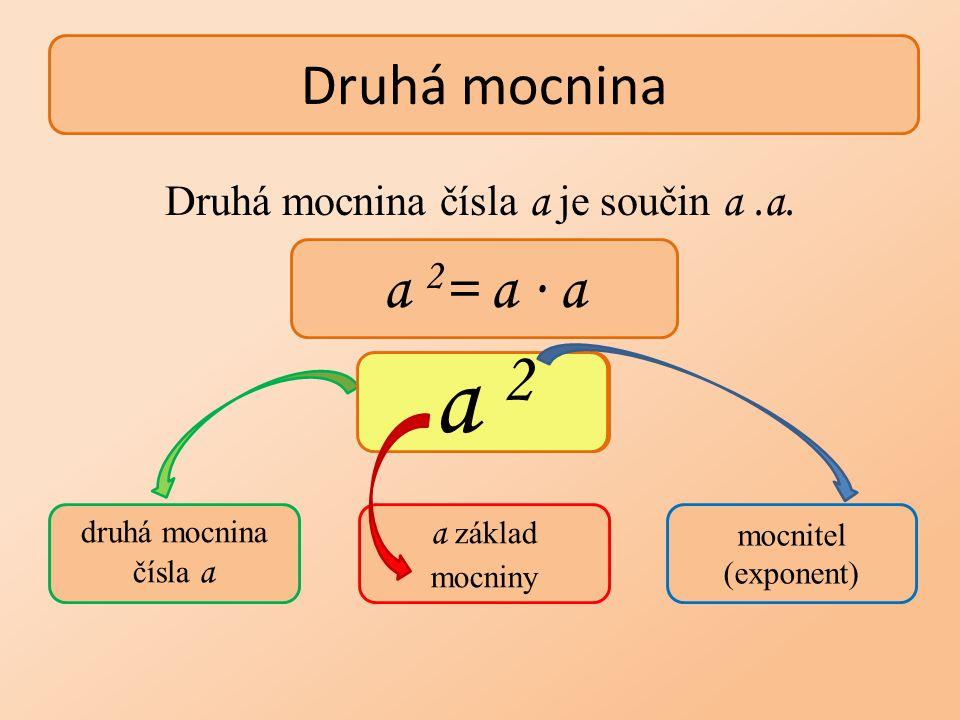Druhá mocnina čísla a je součin a.a. Druhá mocnina a 2 = a ∙ a druhá mocnina čísla a a základ mocniny mocnitel (exponent) a 2 a 2