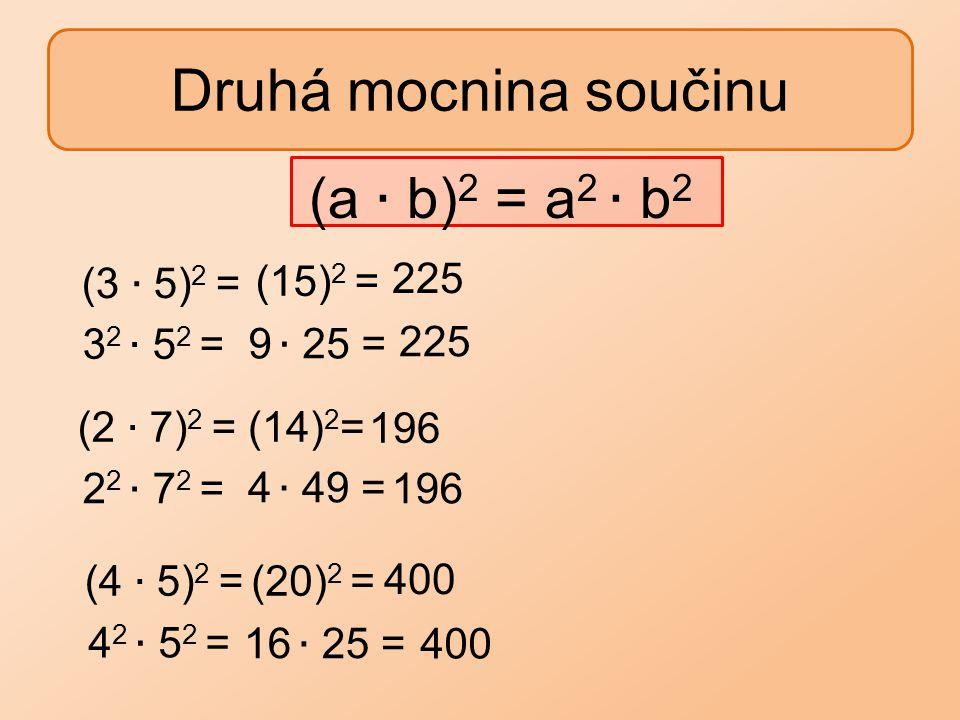Druhá mocnina součinu (15) 2 = 225 (14) 2 =196 (20) 2 = 400