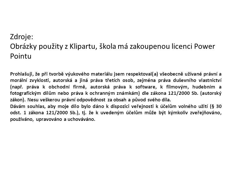 Zdroje: Obrázky použity z Klipartu, škola má zakoupenou licenci Power Pointu Prohlašuji, že při tvorbě výukového materiálu jsem respektoval(a) všeobecně užívané právní a morální zvyklosti, autorská a jiná práva třetích osob, zejména práva duševního vlastnictví (např.
