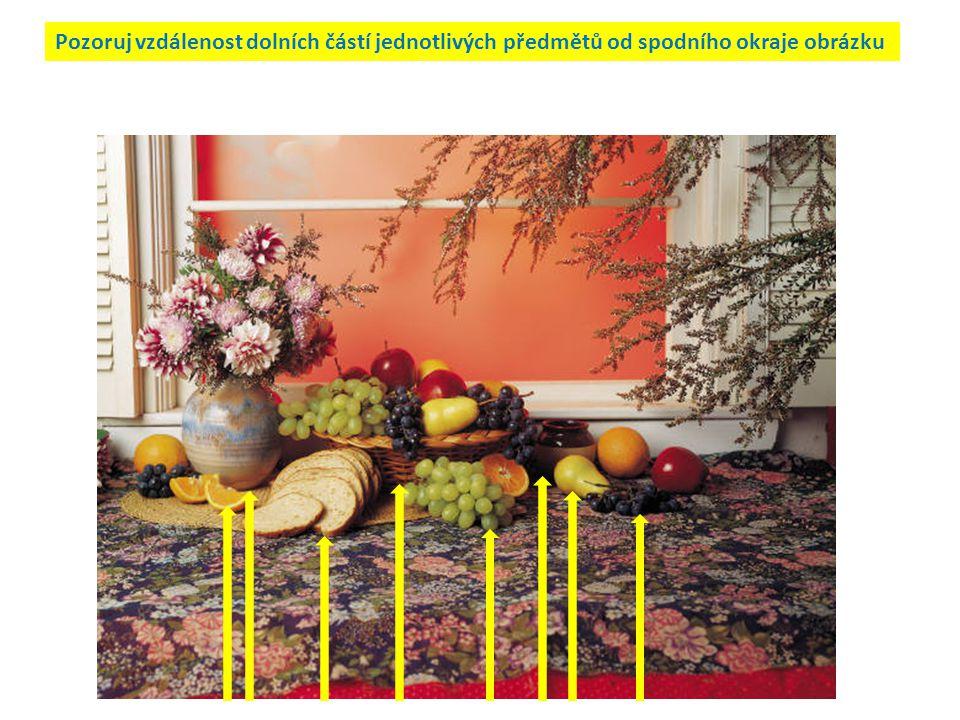 Zkusíme vyvodit pravidlo pro zobrazování trojrozměrného prostoru v ploše Předměty,které jsou k nám blíž, zobrazujeme na ploše níž – mají menší vzdálenost od spodního okraje obrázku Předměty, které jsou od nás dál, zobrazujeme na ploše výš – mají větší vzdálenost od spodního okraje obrázku Bližší předměty mohou překrývat předměty vzdálenější