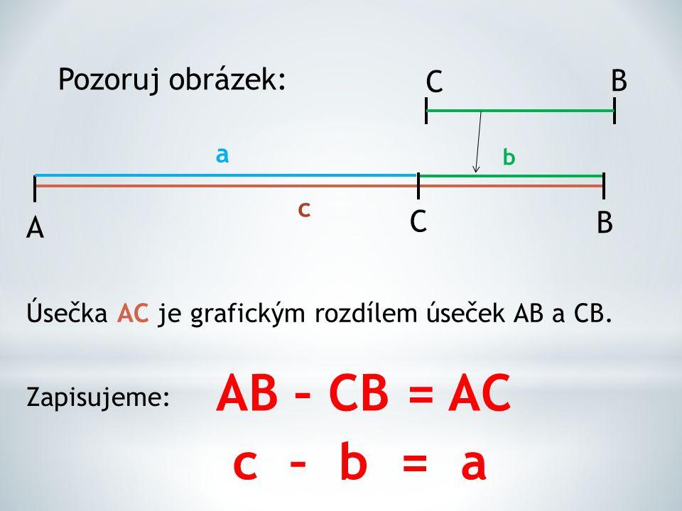Pozoruj obrázek: A B c b a Úsečka AC je grafickým rozdílem úseček AB a CB. Zapisujeme: AB – CB = AC c – b = a C C B