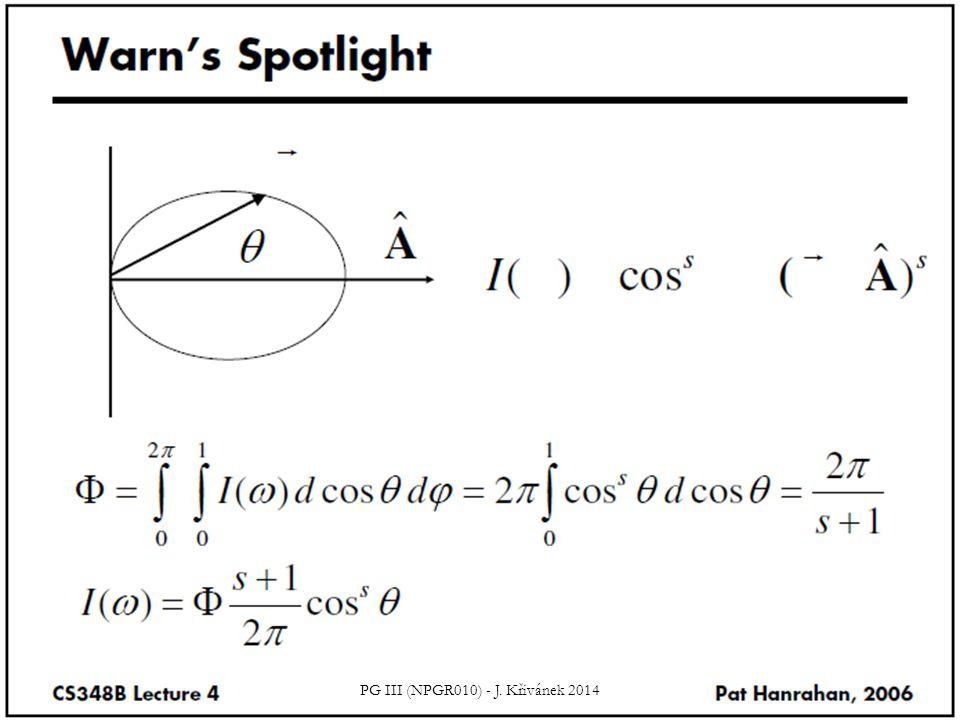 Příklad Jaký je výkon (tok) bodového zdroje se zářivostí (intenzitou): PG III (NPGR010) - J.