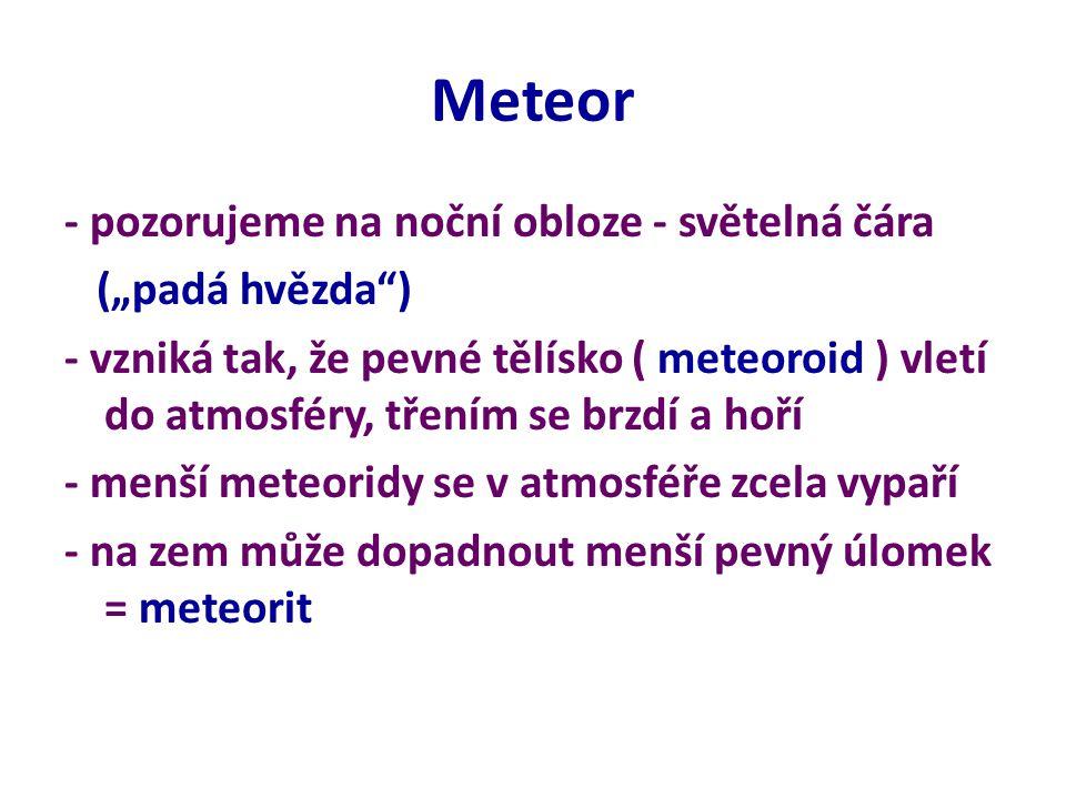 """Meteor - pozorujeme na noční obloze - světelná čára (""""padá hvězda ) - vzniká tak, že pevné tělísko ( meteoroid ) vletí do atmosféry, třením se brzdí a hoří - menší meteoridy se v atmosféře zcela vypaří - na zem může dopadnout menší pevný úlomek = meteorit"""