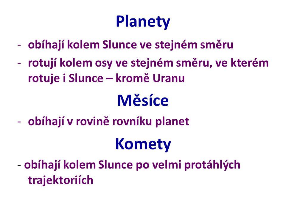 Planety -obíhají kolem Slunce ve stejném směru -rotují kolem osy ve stejném směru, ve kterém rotuje i Slunce – kromě Uranu Měsíce -obíhají v rovině rovníku planet Komety - obíhají kolem Slunce po velmi protáhlých trajektoriích