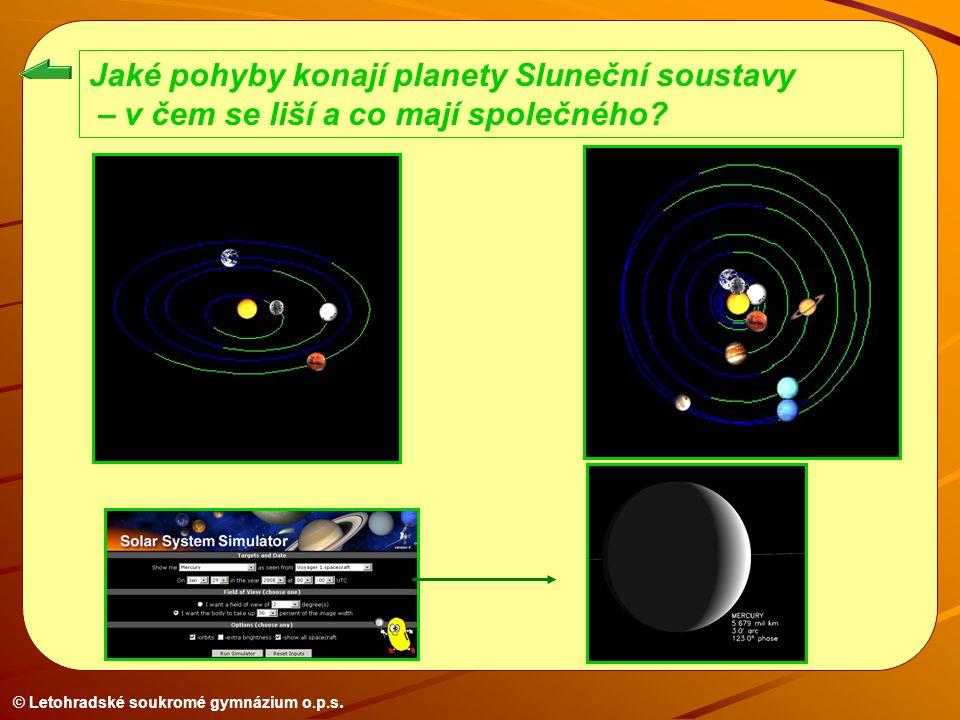 © Letohradské soukromé gymnázium o.p.s. Jaké pohyby konají planety Sluneční soustavy – v čem se liší a co mají společného?