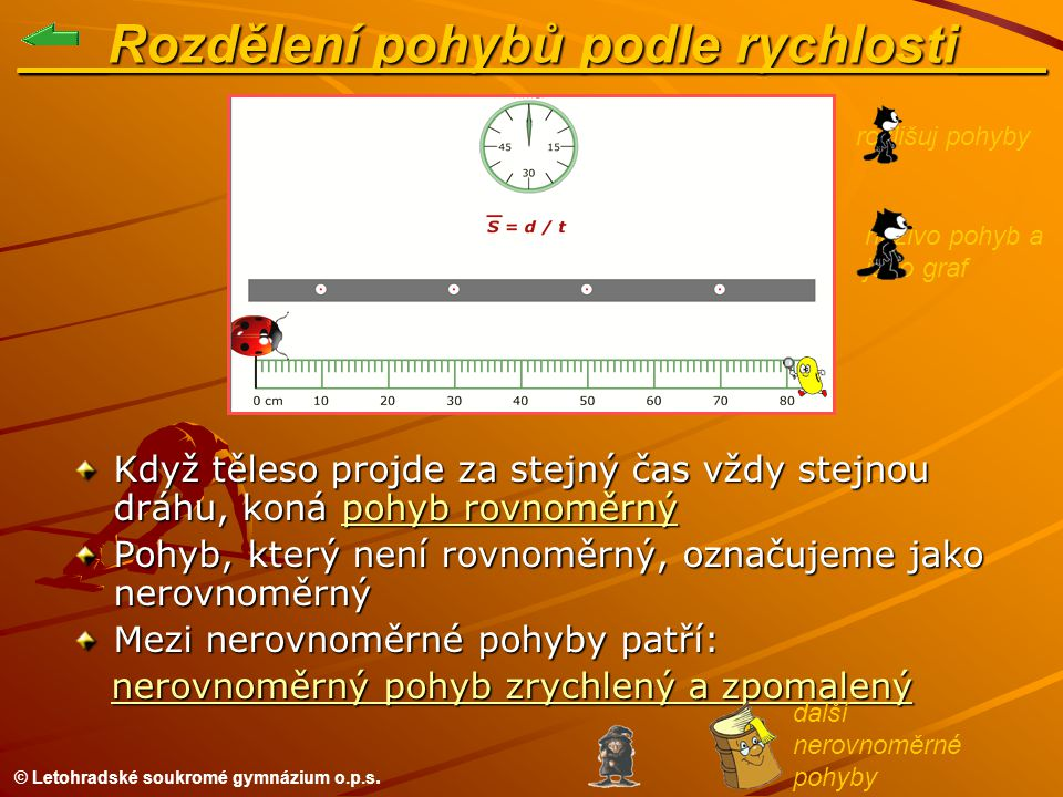 © Letohradské soukromé gymnázium o.p.s. naživo pohyb a jeho graf ___Rozdělení pohybů podle rychlosti___ Když těleso projde za stejný čas vždy stejnou