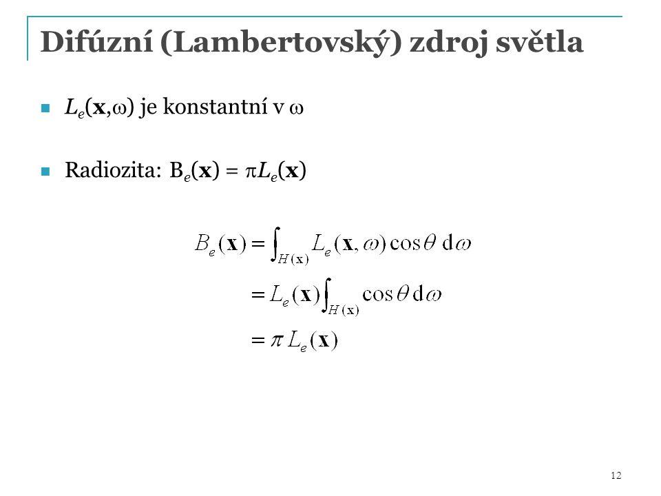 12 Difúzní (Lambertovský) zdroj světla L e (x,  ) je konstantní v  Radiozita: B e (x) =  L e (x)