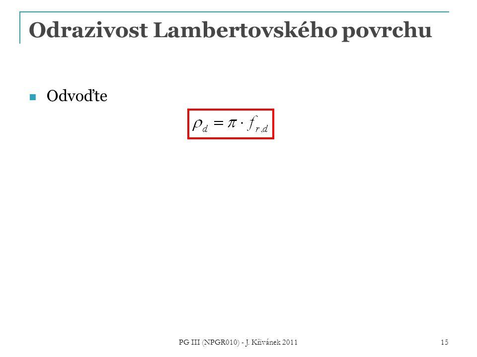 Odrazivost Lambertovského povrchu Odvoďte PG III (NPGR010) - J. Křivánek 2011 15
