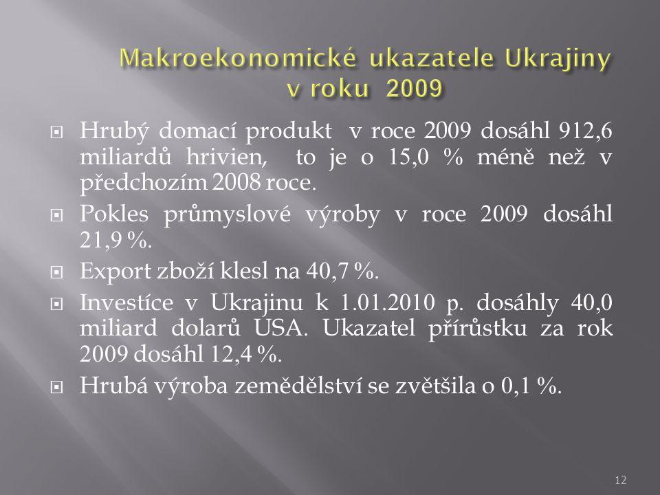  Hrubý domací produkt v roce 2009 dosáhl 912,6 miliardů hrivien, to je o 15,0 % méně než v předchozím 2008 roce.  Pokles průmyslové výroby v roce 20