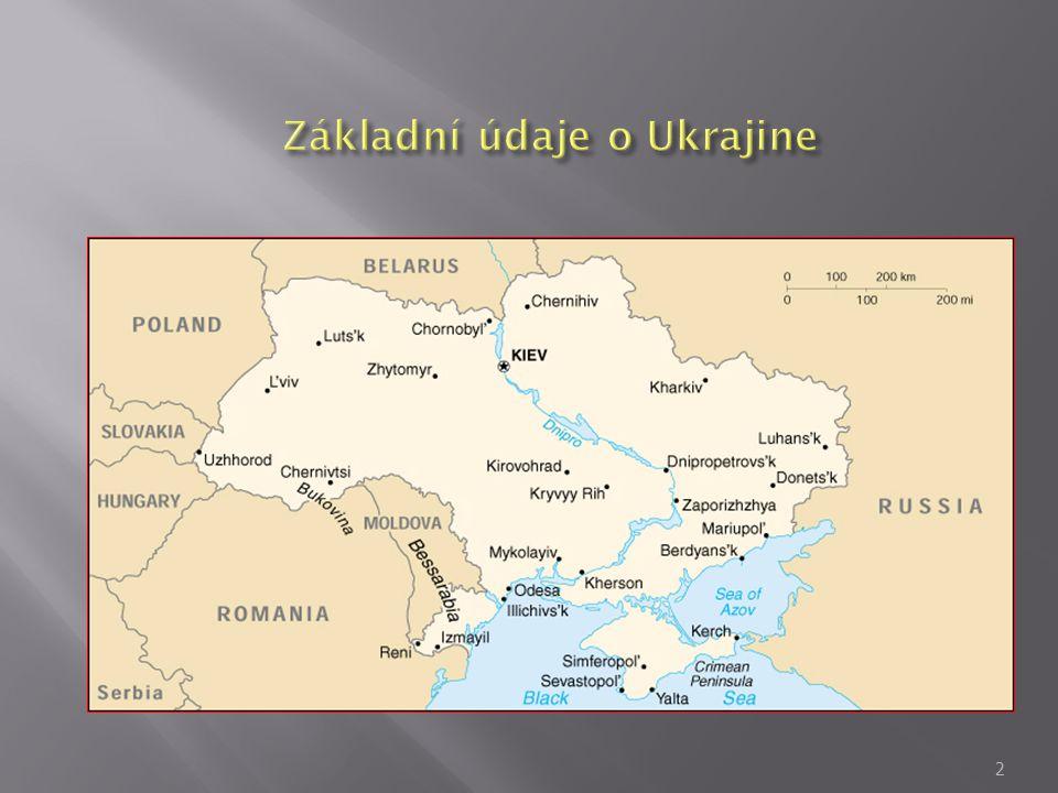  Politický systém – unitární stát  Státní zřízení – parlamentsko – prezidentská republika  Územnosprávne členení – 24 oblasti, autonomní republika Krym, mesta Kyjev a Sevastopol  Rozloha – 603,7 tisíc km.