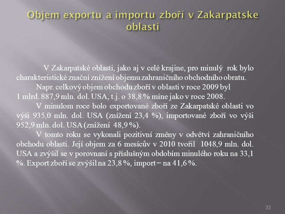 33 V Zakarpatské oblasti, jako aj v celé krajine, pro minulý rok bylo charakteristické znační znížení objemu zahraničního obchodního obratu. Napr. cel