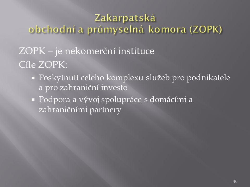 ZOPK – je nekomerční instituce Cíle ZOPK:  Poskytnutí celeho komplexu služeb pro podnikatele a pro zahraniční investo  Podpora a vývoj spolupráce s domácími a zahraničními partnery 46