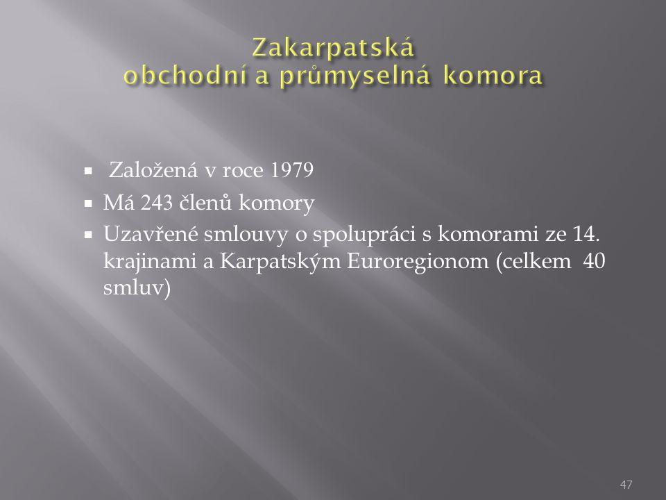 Založená v roce 1979  Má 243 členů komory  Uzavřené smlouvy o spolupráci s komorami ze 14. krajinami a Karpatským Euroregionom (celkem 40 smluv) 4