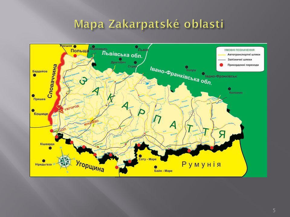  Celková rozloha je 12 800 km² (cca 2% od celého území Ukrajiny  V oblasti je 13 okresov a 10 míst (z toho 5 – krajských míst)  Počet obyvatelů v oblasti je 1 mln.