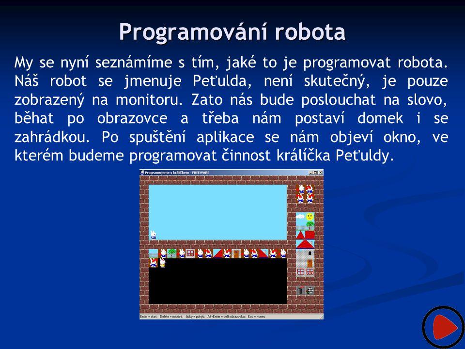 Programování robota My se nyní seznámíme s tím, jaké to je programovat robota. Náš robot se jmenuje Peťulda, není skutečný, je pouze zobrazený na moni
