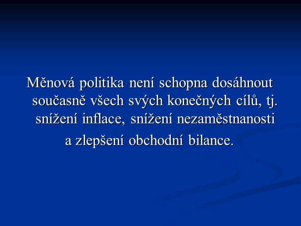 Měnová politika není schopna dosáhnout současně všech svých konečných cílů, tj.