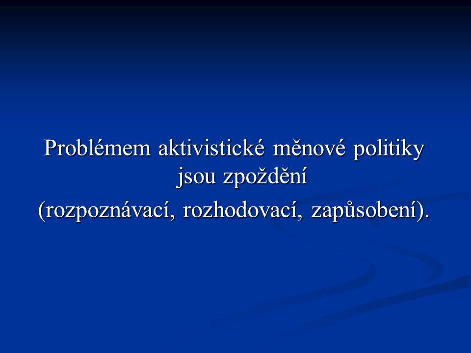 Problémem aktivistické měnové politiky jsou zpoždění (rozpoznávací, rozhodovací, zapůsobení).