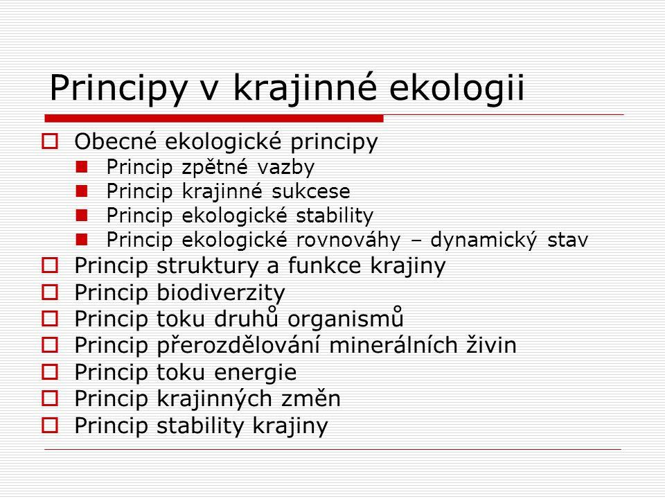 Principy v krajinné ekologii  Obecné ekologické principy Princip zpětné vazby Princip krajinné sukcese Princip ekologické stability Princip ekologick