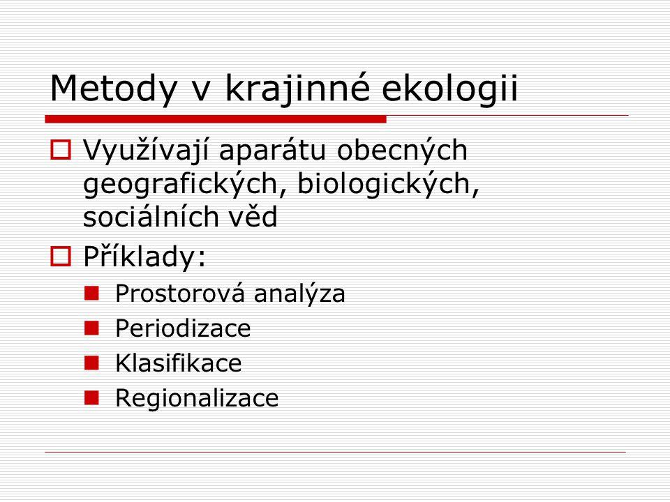 Metody v krajinné ekologii  Využívají aparátu obecných geografických, biologických, sociálních věd  Příklady: Prostorová analýza Periodizace Klasifi
