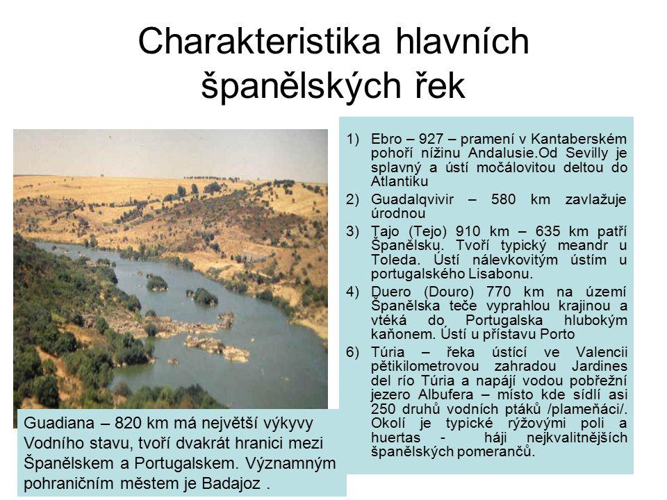 Charakteristika hlavních španělských řek 1)Ebro – 927 – pramení v Kantaberském pohoří nížinu Andalusie.Od Sevilly je splavný a ústí močálovitou deltou do Atlantiku 2)Guadalqvivir – 580 km zavlažuje úrodnou 3) Tajo (Tejo) 910 km – 635 km patří Španělsku.