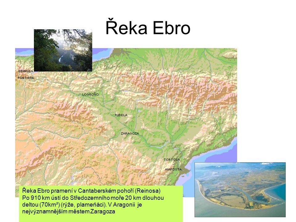 Řeka Ebro Řeka Ebro pramení v Cantaberském pohoří (Reinosa) Po 910 km ústí do Středozemního moře 20 km dlouhou deltou (70km²) (rýže, plameńáci).