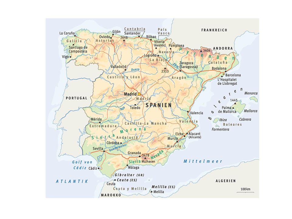 1. La Mancha 2. La Doňana 3. Sierra Morena 4. Sierra Cantabrica 12 3 4 4