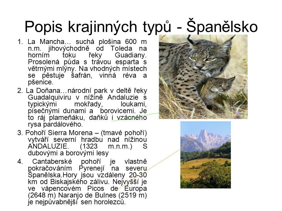 Popis krajinných typů - Španělsko 1.La Mancha… suchá plošina 600 m n.m.
