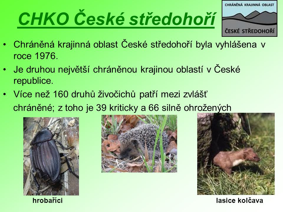 CHKO České středohoří Chráněná krajinná oblast České středohoří byla vyhlášena v roce 1976. Je druhou největší chráněnou krajinou oblastí v České repu