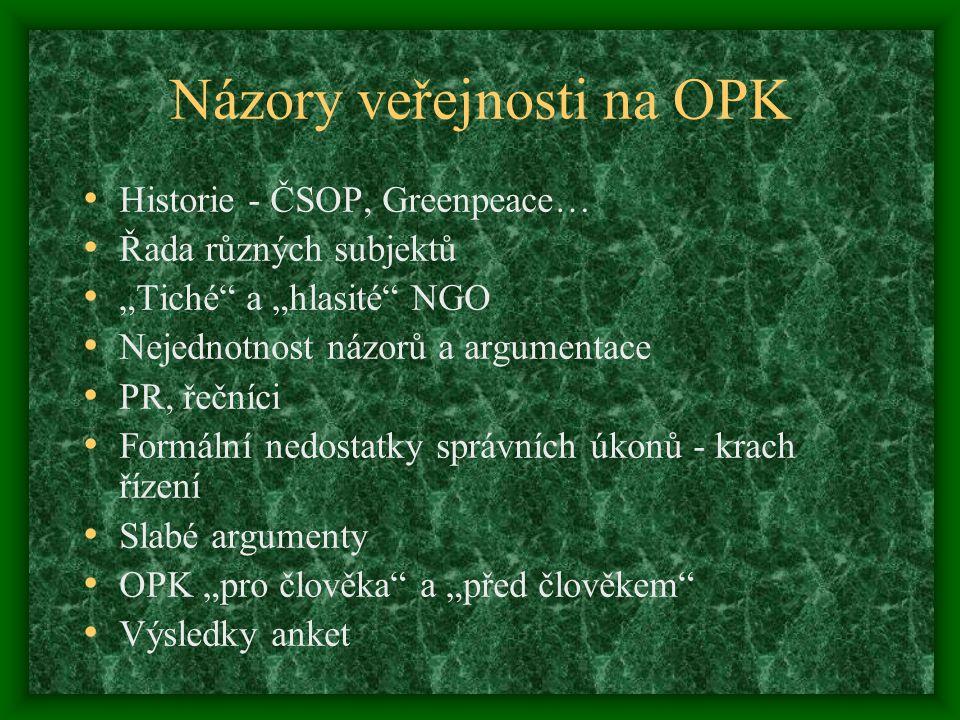 """Názory veřejnosti na OPK Historie - ČSOP, Greenpeace… Řada různých subjektů """"Tiché"""" a """"hlasité"""" NGO Nejednotnost názorů a argumentace PR, řečníci Form"""