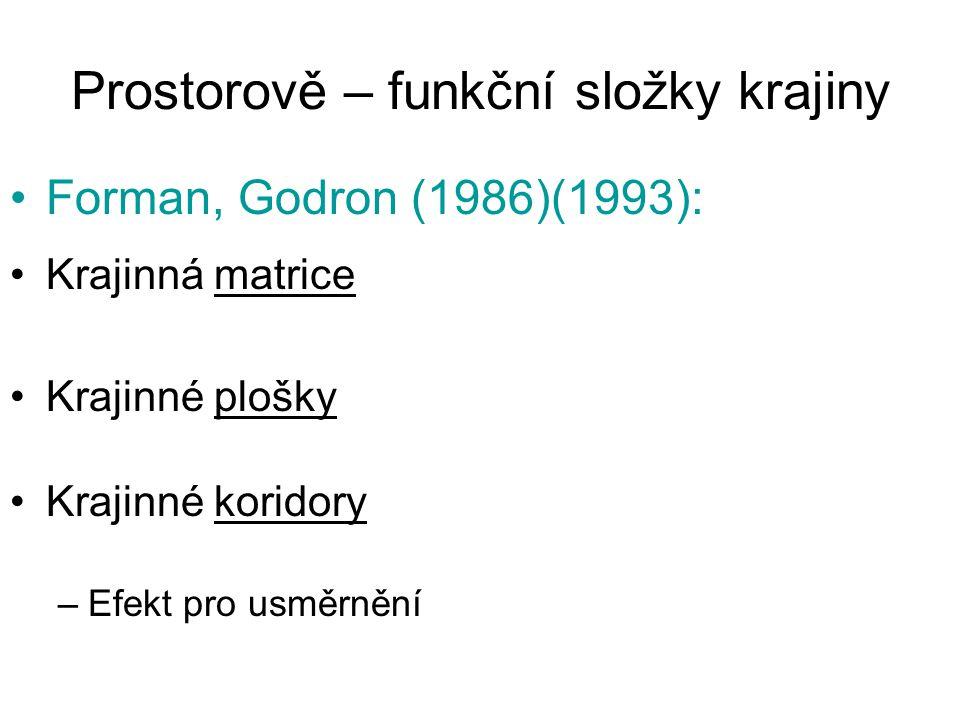 Prostorově – funkční složky krajiny Forman, Godron (1986)(1993): Krajinná matrice Krajinné plošky Krajinné koridory –Efekt pro usměrnění