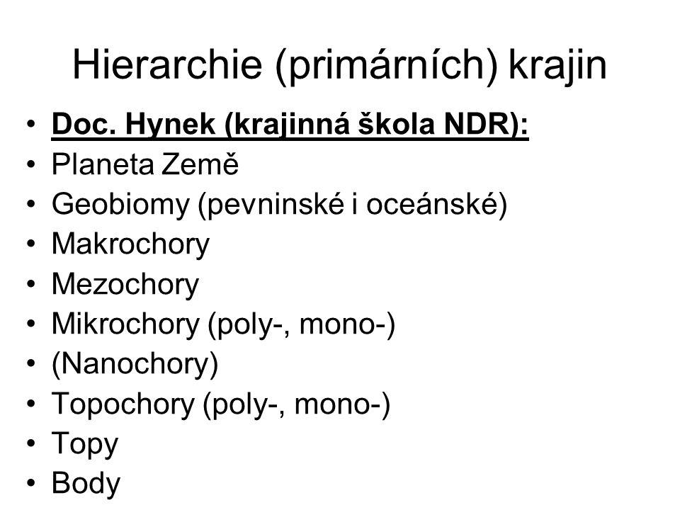 Hierarchie (primárních) krajin Doc. Hynek (krajinná škola NDR): Planeta Země Geobiomy (pevninské i oceánské) Makrochory Mezochory Mikrochory (poly-, m