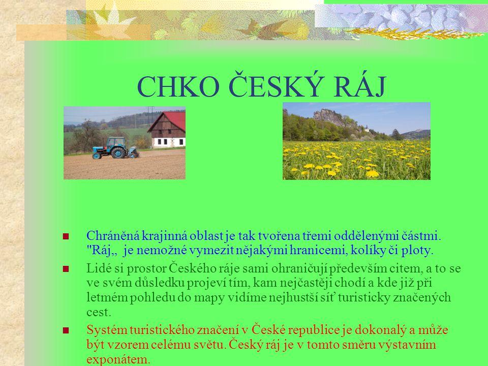 CHKO ČESKÝ RÁJ Český ráj se může pochlubit nejstarší chráněnou krajinnou oblastí v České republice. CHKO Český ráj byla vyhlášena v roce 1955. CHKO Če