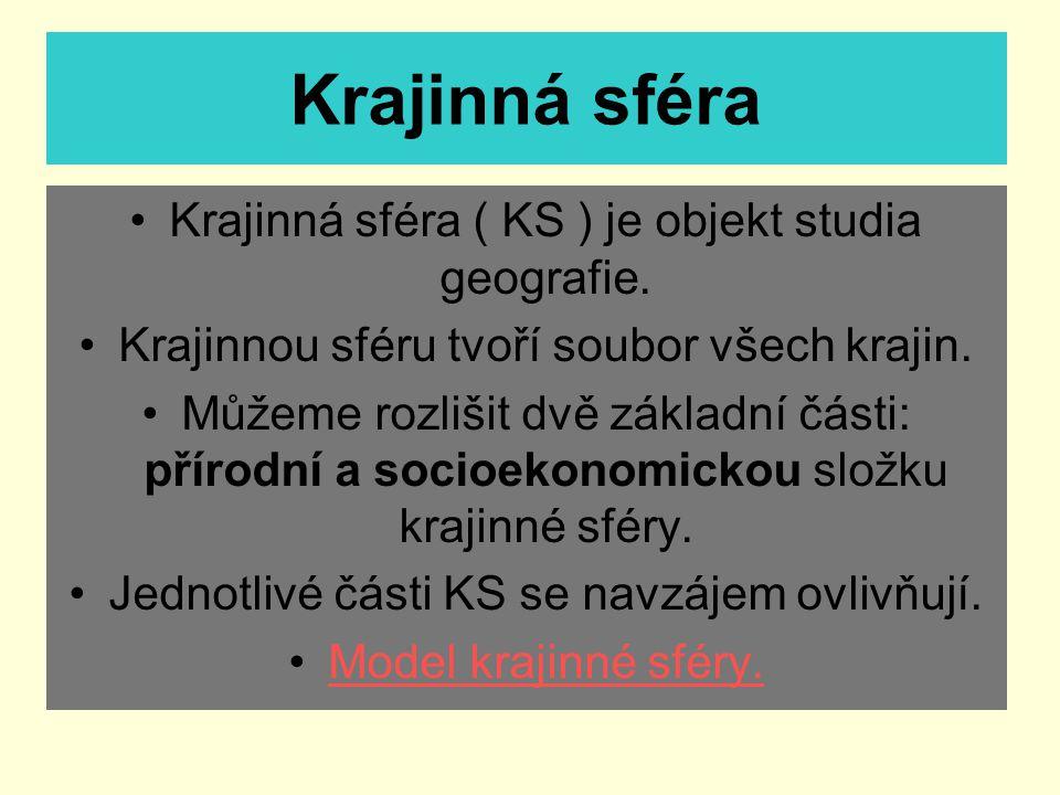 Krajinná sféra Krajinná sféra ( KS ) je objekt studia geografie. Krajinnou sféru tvoří soubor všech krajin. Můžeme rozlišit dvě základní části: přírod