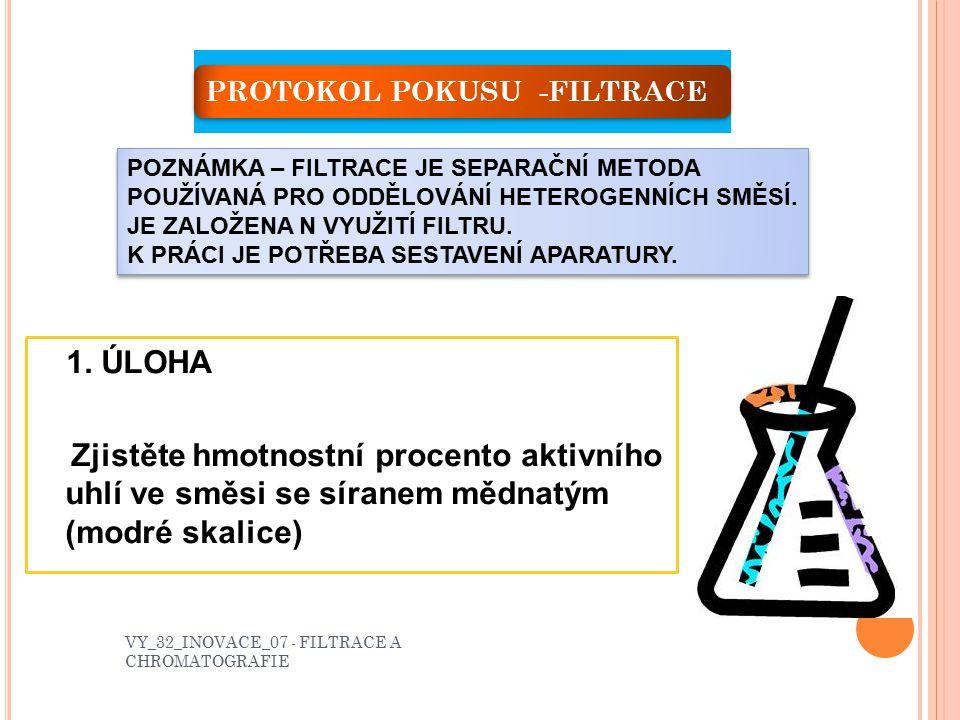 L ABORATORNÍ PRÁCE A – FILTRACEB – CHROMATOGRAFIE VY_32_INOVACE_07 - FILTRACE A CHROMATOGRAFIE