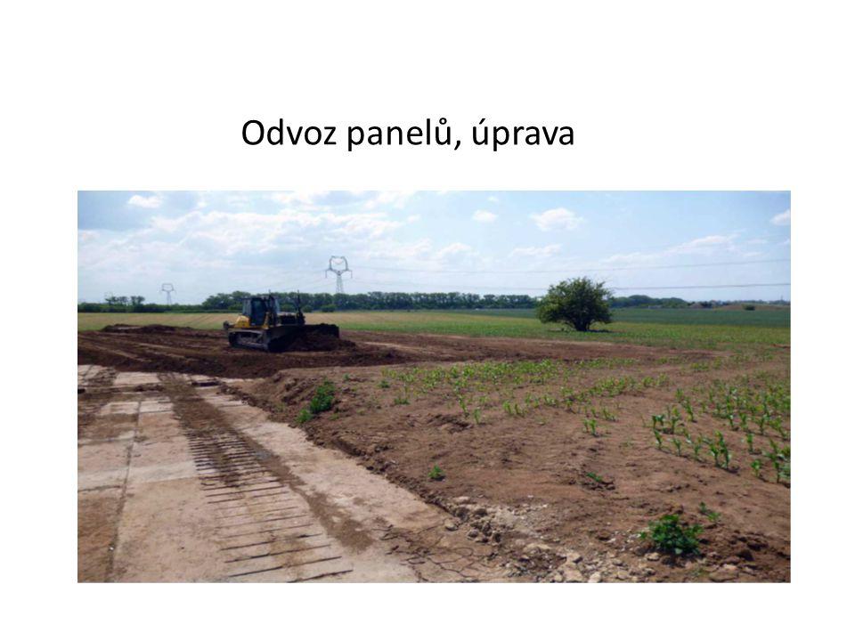 Odvoz panelů, úprava