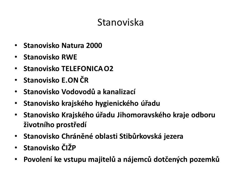 Stanoviska Stanovisko Natura 2000 Stanovisko RWE Stanovisko TELEFONICA O2 Stanovisko E.ON ČR Stanovisko Vodovodů a kanalizací Stanovisko krajského hyg