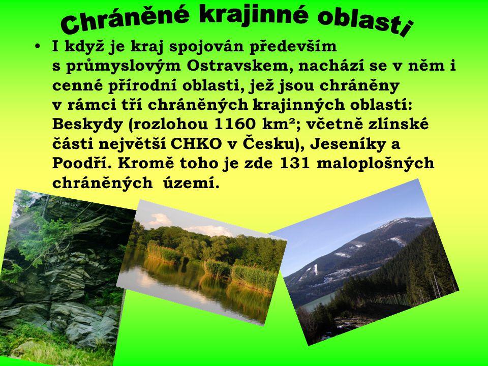 I když je kraj spojován především s průmyslovým Ostravskem, nachází se v něm i cenné přírodní oblasti, jež jsou chráněny v rámci tří chráněných krajin