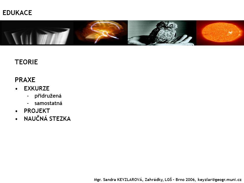 EDUKACE TEORIE PRAXE EXKURZE –přidružená –samostatná PROJEKT NAUČNÁ STEZKA Mgr. Sandra KEYZLAROVÁ, Zahrádky, LGŠ – Brno 2006, keyzlar@geogr.muni.cz