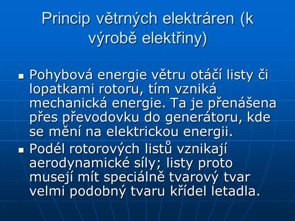 Princip větrných elektráren (k výrobě elektřiny) Pohybová energie větru otáčí listy či lopatkami rotoru, tím vzniká mechanická energie.