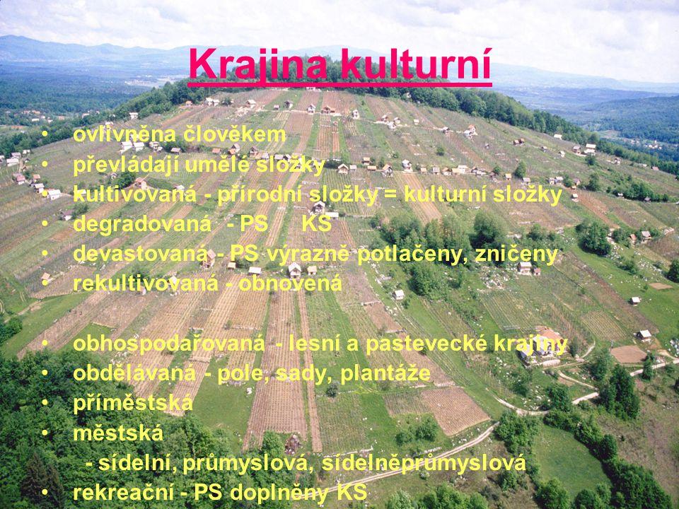 Krajina kulturní ovlivněna člověkem převládají umělé složky kultivovaná - přírodní složky = kulturní složky degradovaná - PS KS devastovaná - PS výraz