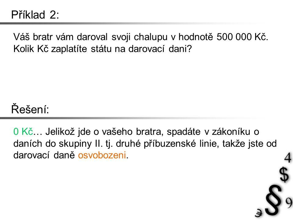 Příklad 2: Váš bratr vám daroval svoji chalupu v hodnotě 500 000 Kč.