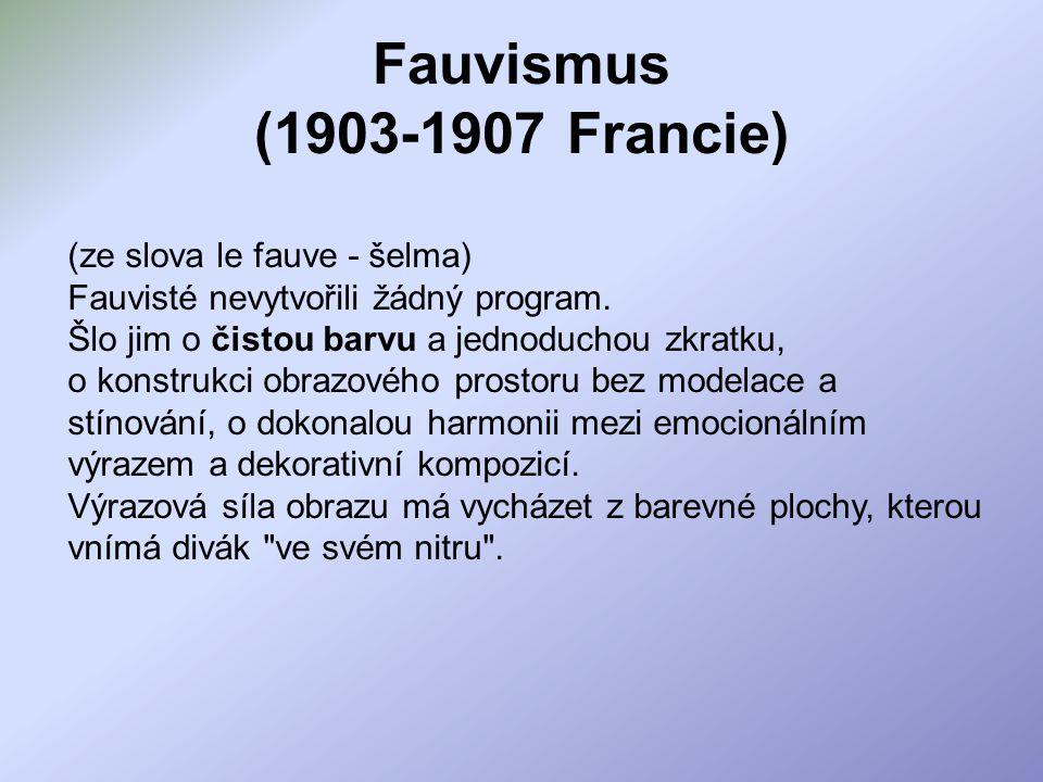 Fauvismus (1903-1907 Francie) (ze slova le fauve - šelma) Fauvisté nevytvořili žádný program. Šlo jim o čistou barvu a jednoduchou zkratku, o konstruk