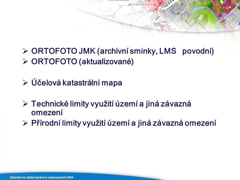  ORTOFOTO JMK (archivní sminky, LMS povodní)  ORTOFOTO (aktualizované)  Účelová katastrální mapa  Technické limity využití území a jiná závazná om