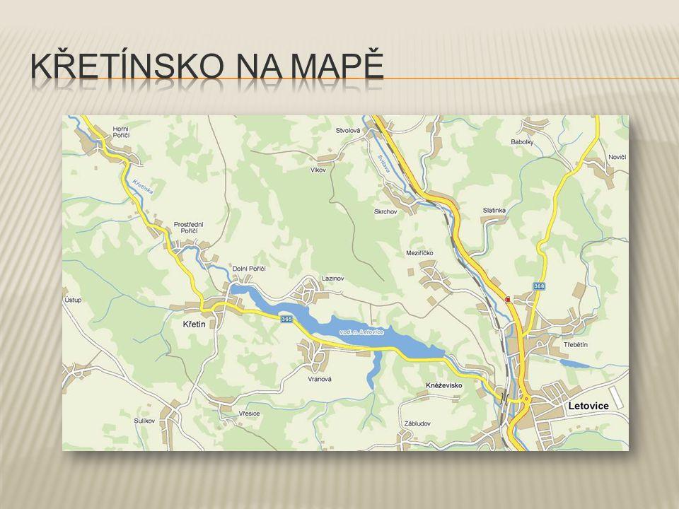 Které vesnice, silnice a krajinné prvky můžeme vidět při pohledu do údolí Křetínky?