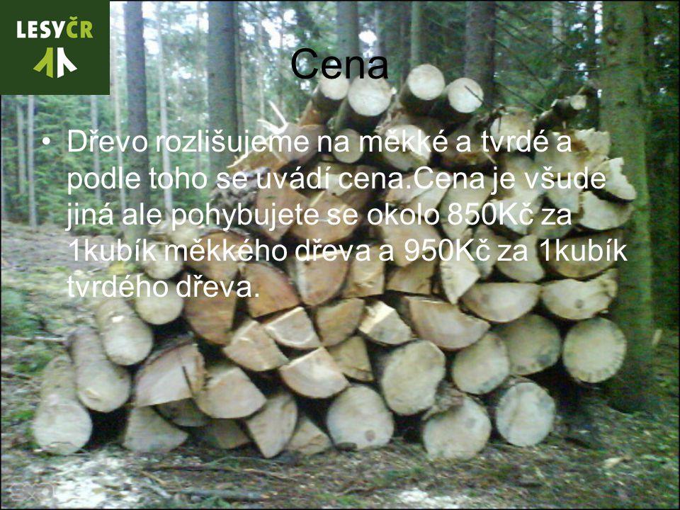 Cena Dřevo rozlišujeme na měkké a tvrdé a podle toho se uvádí cena.Cena je všude jiná ale pohybujete se okolo 850Kč za 1kubík měkkého dřeva a 950Kč za 1kubík tvrdého dřeva.