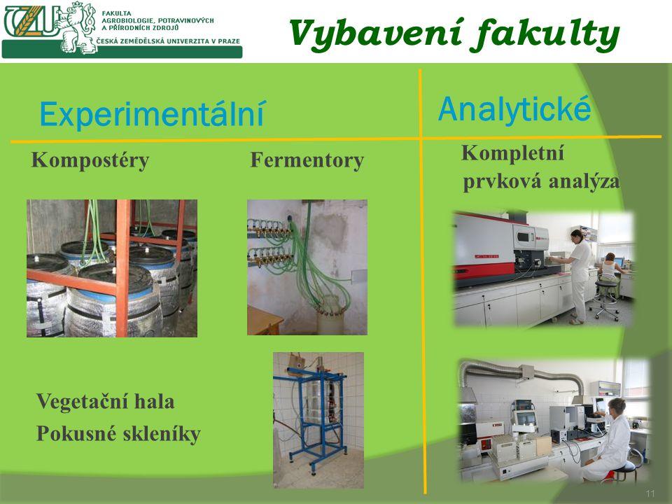 Vybavení fakulty Experimentální Analytické Kompostéry Fermentory Kompletní prvková analýza 11 Vegetační hala Pokusné skleníky