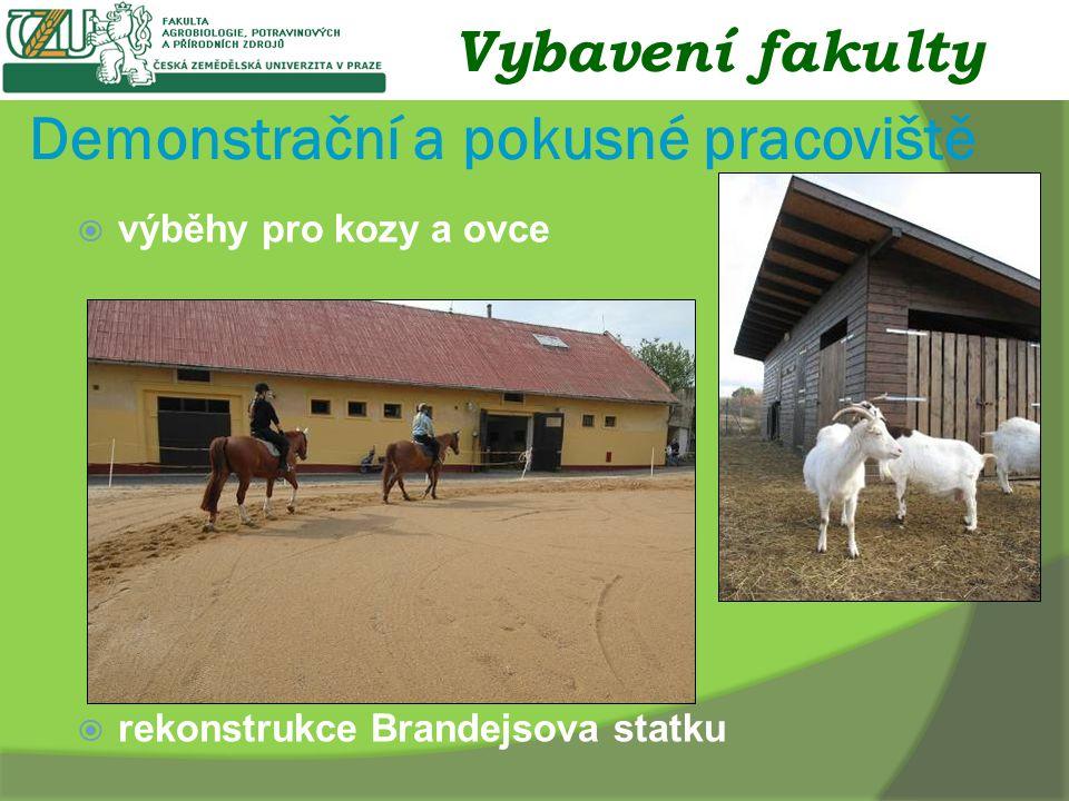 Demonstrační a pokusné pracoviště  výběhy pro kozy a ovce  rekonstrukce Brandejsova statku Vybavení fakulty