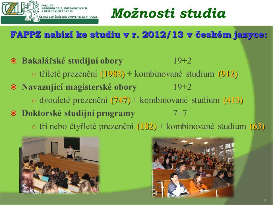 Možnosti studia FAPPZ nabízí ke studiu v r.